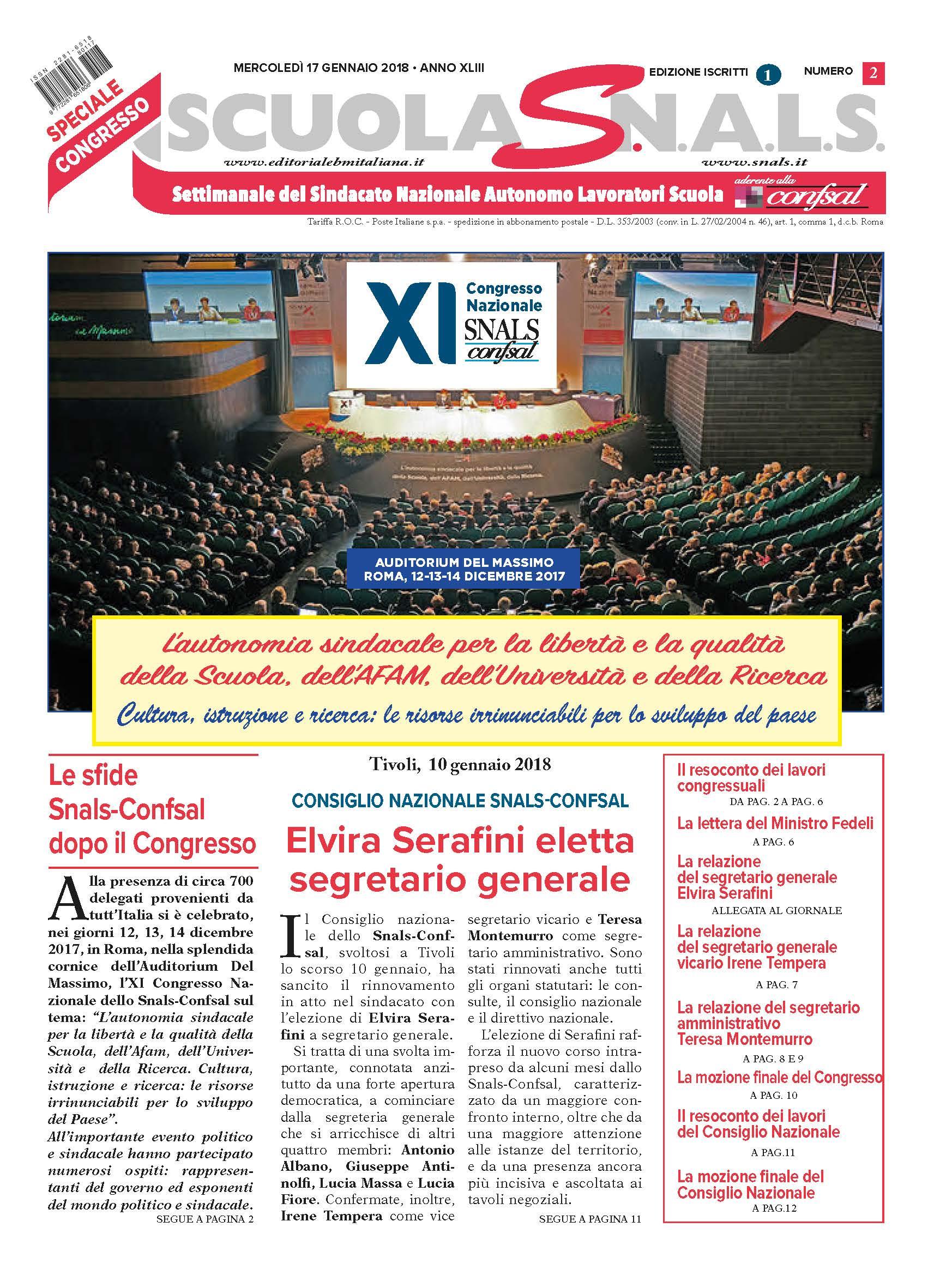 17 01 2018n° 2L autonomia sindacale per la libert e la qualit della Scuola dell AFAM dell Universit e della R Sfoglia il giornale